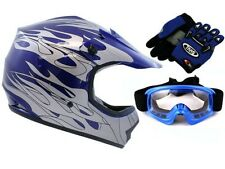 Youth Blue Flame Dirtbike Off-Road ATV Motocross Helmet MX +Goggles/Gloves~S,M,L
