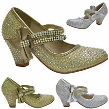 GIRLS DIAMANTE BOW MARY JANE KIDS HEELED FORMAL EVENING COURT SHOES SIZE 10-2