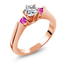 0.76 Ct Round White Topaz Pink Sapphire 925 Rose Gold Plated Silver 3-Stone Ring