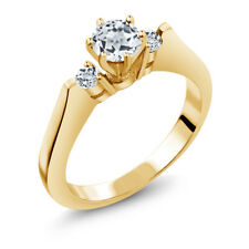 0.76 Ct Round White VS Topaz 925 Yellow Gold Plated Silver 3-Stone Ring