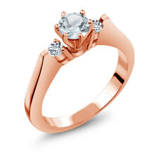0.61 Ct Sky Blue Aquamarine White Topaz 925 Rose Gold Plated Silver 3-Stone Ring