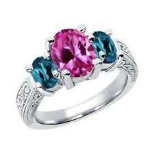 3.50 Ct Oval Pink Created Sapphire London Blue Topaz 14K White Gold 3-Stone Ring