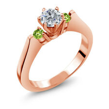 0.64 Ct Round G/H Diamond Green Peridot 925 Rose Gold Plated Silver 3-Stone Ring