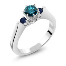 0.71 Ct Round Blue SI1/SI2 Diamond Sapphire and 925 Sterling Silver 3-Stone Ring
