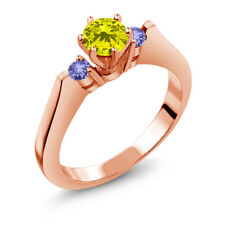 0.71 Ct Round Canary Diamond Blue Tanzanite 18K Rose Gold 3-Stone Ring