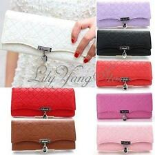 Women Lady Bowknot Leather Button Long Clutch Purse Wallet Card Coin Money Bag