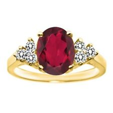 2.50 Ct Oval Ruby Red Mystic Quartz White Diamond 14K Yellow Gold Ring