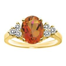2.50 Ct Oval Twilight Orange Mystic Quartz White Diamond 14K Yellow Gold Ring
