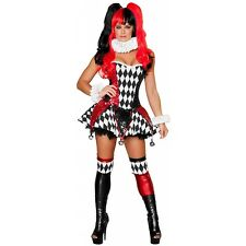 Sexy Harlequin Costume Adult Womens Jester Harley Quinn Halloween Fancy Dress