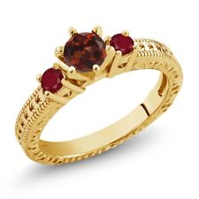 0.88 Ct Round Red Garnet Ruby 18K Yellow Gold Plated Silver 3-Stone Ring