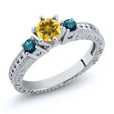 0.69 Ct Round Yellow Citrine Blue Diamond 925 Sterling Silver 3-Stone Ring