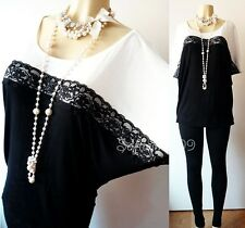 NEW Forever 21 Black/Ivory Lace Trim Batwing Kimono Slvs Loose Relaxed Tunic Top