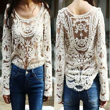 Hot Women Semi Sexy Sheer Sleeve Embroidery Floral Lace Crochet Tee Tops T shirt