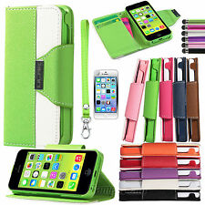Colorful Shockproof Wallet Card Hybrid PU Leather Hard Case Cover For iPhone 5C