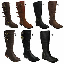 LADIES WOMENS KNEE HIGH CASUAL WINTER CALF KNEE HIGH RIDING BOOTS SHOES SIZE 3-8