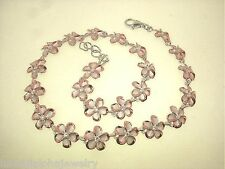 Hawaiian 2-Tone Rhodium 14k Rose Gold Silver Brushed Satin Plumeria CZ Anklet #5