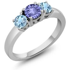 0.90 Ct Round Blue Tanzanite Sky Blue Aquamarine 925 Sterling Silver Ring