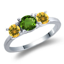 1.02 Ct Round Green Chrome Diopside Yellow Citrine 925 Sterling Silver Ring