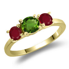 1.10 Ct Round Green Chrome Diopside Red Ruby 925 Yellow Gold Plated Silver Ring