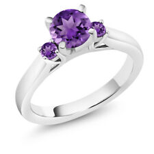 0.90 Ct Round Purple Amethyst 925 Sterling Silver 3-Stone Ring
