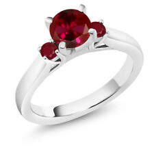 1.24 Ct Round Red Created Ruby Ruby 18K White Gold Engagement Ring