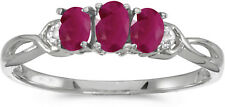 10k White Gold Oval Ruby And Diamond Three Stone Ring (CM-RM2521W-07)