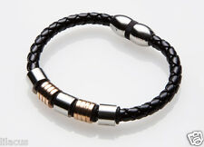 Men's Stainless Steel Leather Braided Bracelet (Different Styles Available)