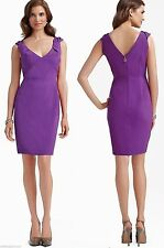 $348 Elie Tahari Meredith Wild Grape Purple V-Neck Crepe Sheath Dress 10