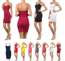 Seamless stretch Cami Mini Dress Solid color extra long camisole tank top dress