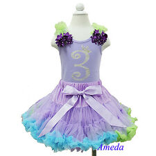 Lavender Blue Pettiskirt Rhinestone 3rd Birthday Tank Top Ariel Party Dress Tutu