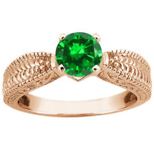 1.50 Ct Round Green VS Simulated Emerald 18K Rose Gold Ring