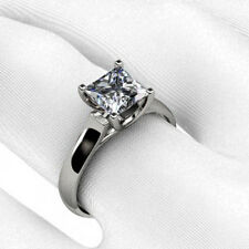 Princess Cut Cross Prong Solitaire Engagement Ring in Gold and Platinum