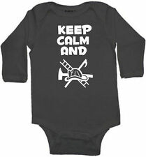 KEEP CALM AND FIREFIGHTER RESCUE BABY INFANT BODYSUIT SIZE COLOR SLEEVE OPTION