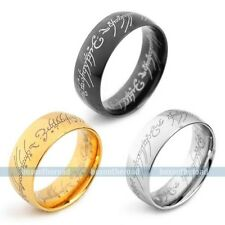 Size7,8,9,10,11,12,13 Black Gold Stainless Steel Men The Lord of Rings VE396