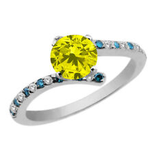 1.11 Ct Round Canary and Blue Diamond White Topaz 925 Sterling Silver Ring