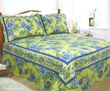 SUPERKING SIZE SOFT TOUCH QUILTED LEMON BLUE SOFT PROVENCAL BEDSPREAD