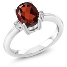 1.44 Ct Oval Red Garnet White Topaz 925 Sterling Silver Ring