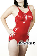 NEW LATEX RUBBER FEMALE CORSET WITH INFLATABLE BOOBS RED S M L XL Transvestite