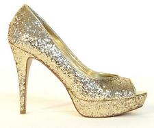 Guess Gaby Gale Glitter Gold Peep Toe Platform Heels Pumps Womans NEW