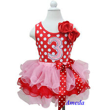Valentine's Day Red Pink Tutu Pettiskirt Dots 3rd Bling Birthday Party Dress