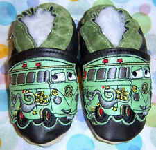 Soft soled leather baby shoes cars bus choose size chaussons en cuir cars