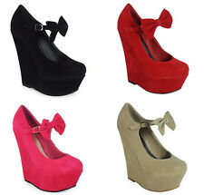 GRILS LOVELY BOW-TIE SUEDE PLATFORM HIGH HEELS WEDGE PARTY SHOES US SIZE 4-11