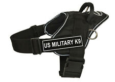 DT FUN Dog Harness in Reflective Trim with Velcro Patches US MILITARY K9