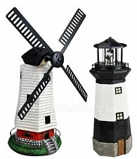 SOLARE POWERED LED BULB LIGHTING GARDEN OUTDOOR ORNAMENT WIND MILL / LIGHT HOUSE