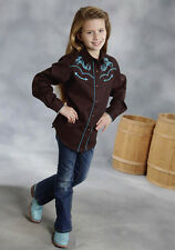 Girls Roper Brown Embroidered Turquoise Barrel Racing Show Rodeo Shirt S M L XL