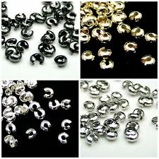 4mm & 3.2mm Round Crimp Cover Findings Craft Beading Silver & Gold Plated  ML