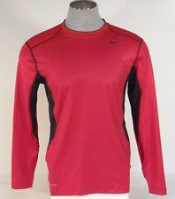 Nike Pro Combat Dri Fit Fitted Red & Black Long Sleeve Fitted Shirt Men NWT