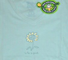 """NWT Life is good.® Womens """"EARTH FLOWER"""" Teal Blue S/S Vee Tee Shirt SMALL+MED M"""