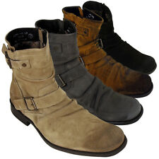 Mens Leather Base London Metal Biker Ankle Boot Burnished Suede Boots Size 6-12