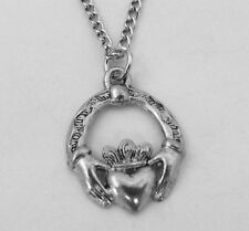 Pewter Claddagh Pendant on Silver Plated  Link Necklace   5051